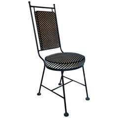 Sleek Mid-Century Modern Iron and Striped Salterini Style Chair, Italian