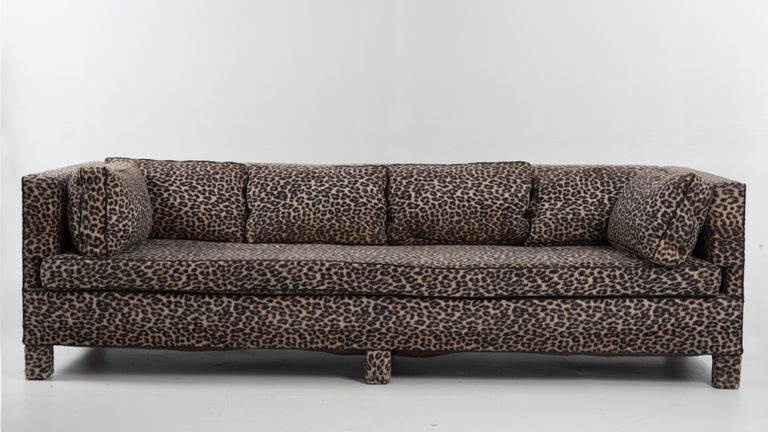 Glamorous comfortable and very large sofa by the iconic Billy Baldwin. Great bones but recommend reupholstery and priced accordingly. Wear on feet especially. Size: Seat height 17.5.
