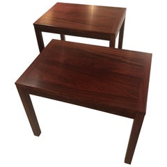 Sleek Mobelfabrick Danish Mid-Century Modern Pair of Richly Grained End Tables