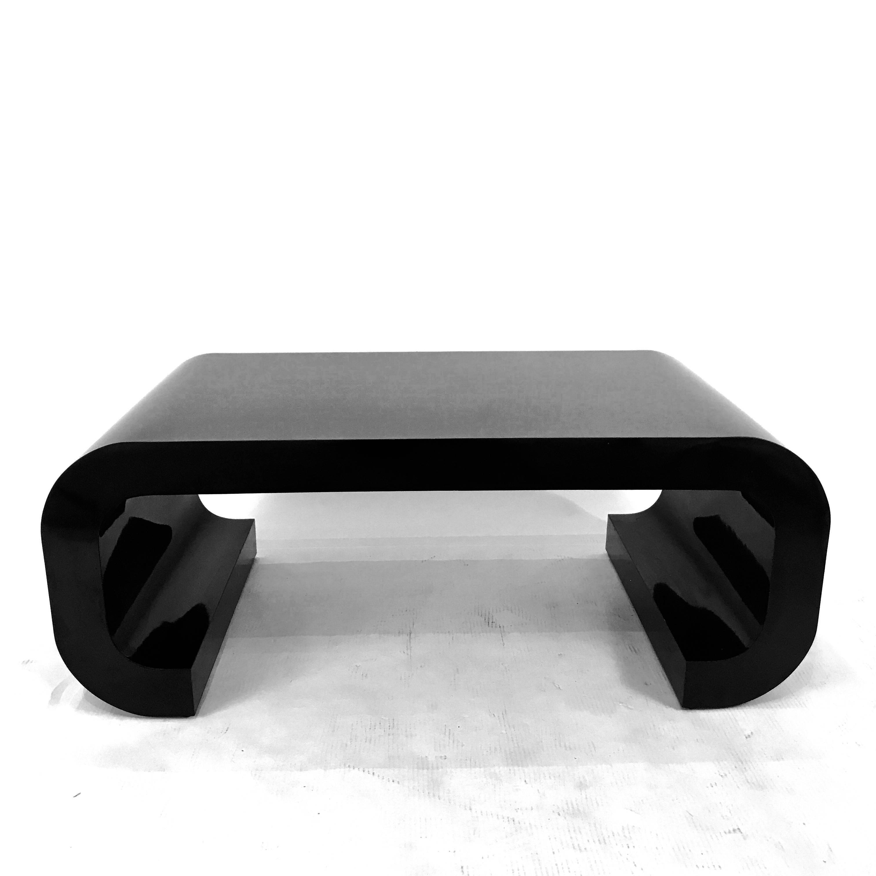 Modern black coffee table Modern Style Midcentury Modern Sleek Modern Black Laminate Curved Coffee Table In The Manner Of Karl 1stdibs Sleek Modern Black Laminate Curved Coffee Table In The Manner Of