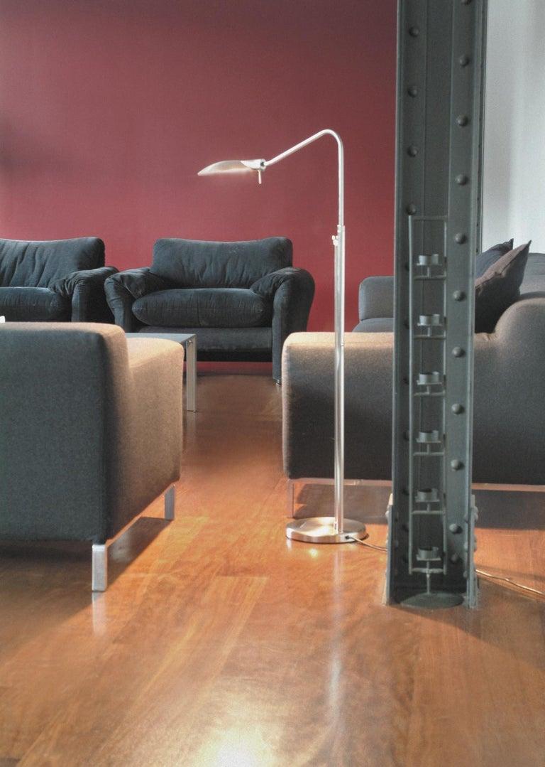 Sleek Modern Nickel Swing Arm Reading Lamp by Leonardo Marelli for Estiluz For Sale 7
