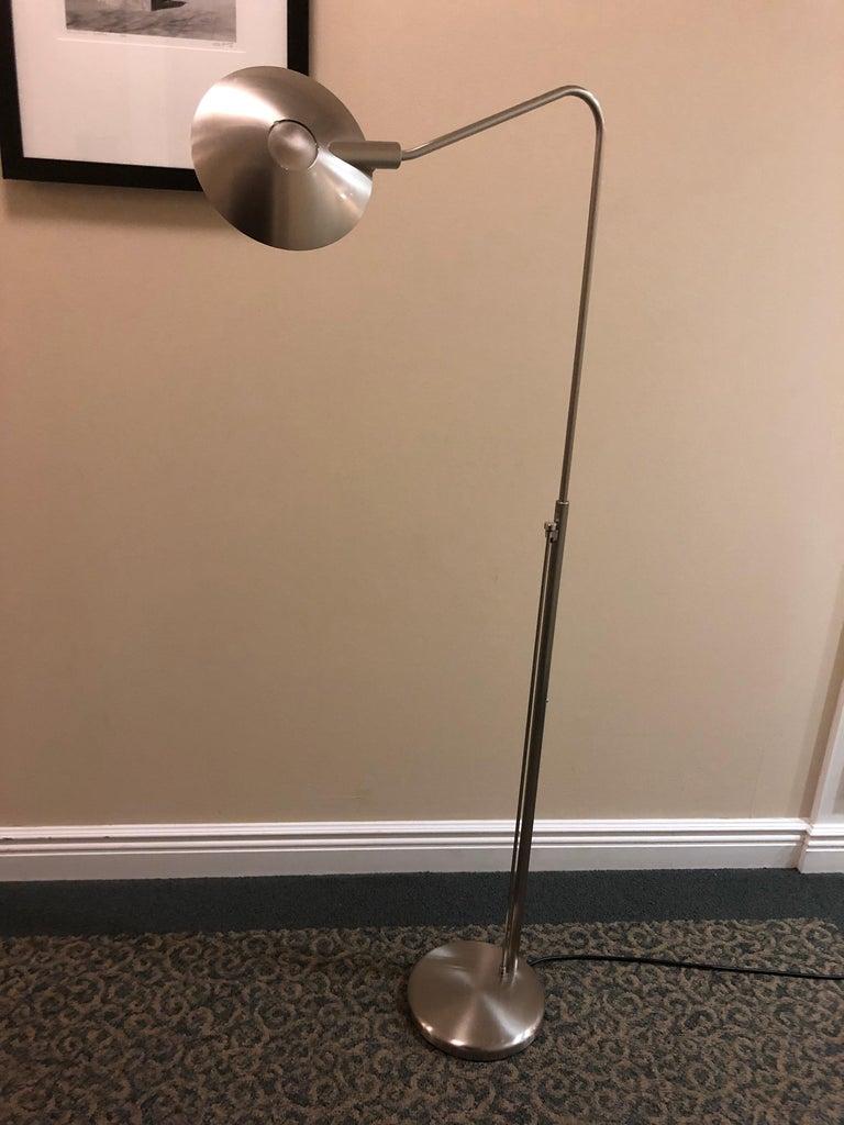 Contemporary Sleek Modern Nickel Swing Arm Reading Lamp by Leonardo Marelli for Estiluz For Sale