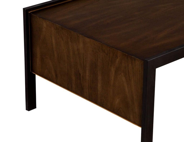 Sleek Modern Walnut Cocktail Table by Baker Furniture Milling Road Kara Mann In Excellent Condition For Sale In North York, ON