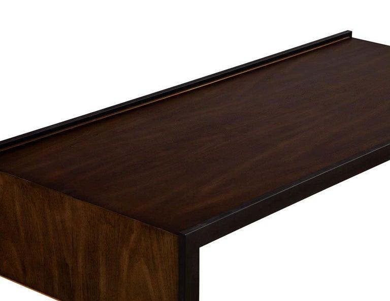 Contemporary Sleek Modern Walnut Cocktail Table by Baker Furniture Milling Road Kara Mann For Sale