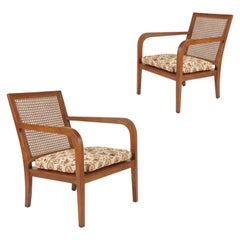 Sleek Pair of 'Art Moderne' Wood Frame & Cane Chairs with Horsehair Cushions