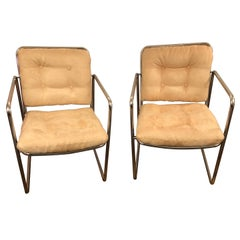 Sleek Pair of Chrome and Ultra Suede Milo Baughman Style Midcentury Club Chairs
