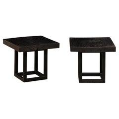 Sleek Pair of Custom Carbonized Teak Top Side Tables on Iron Bases