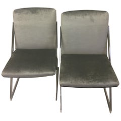 Sleek Pair of Mid-Century Modern Chrome and Gray Silk Velvet Club Chairs