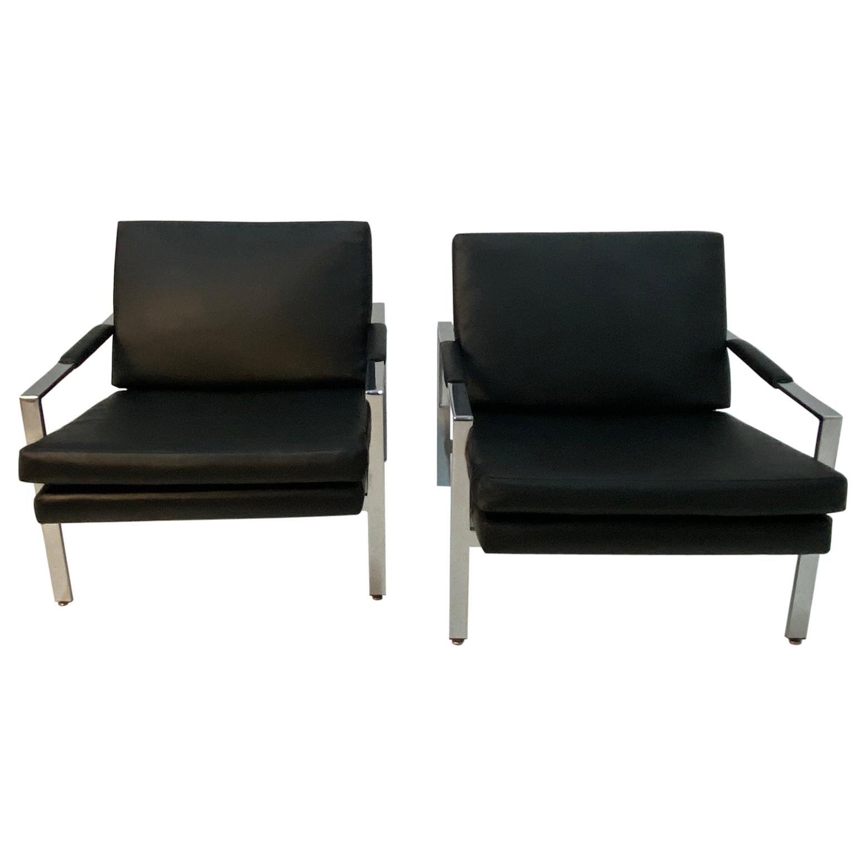 Sleek Pair of Vintage Milo Baughman Style Chrome & Black Vinyl Club Chairs