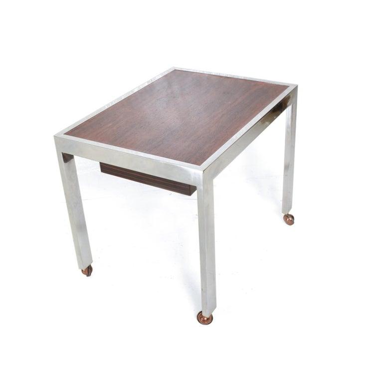 Scandinavian Modern Sleek Rosewood & Chrome Rectangular Side Table on Rolling Casters 1960s Modern For Sale