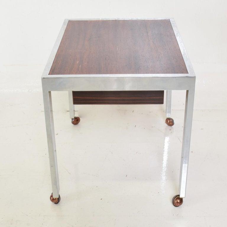 Danish Sleek Rosewood & Chrome Rectangular Side Table on Rolling Casters 1960s Modern For Sale