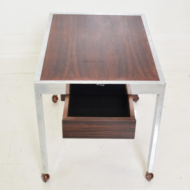 Sleek Rosewood & Chrome Rectangular Side Table on Rolling Casters 1960s Modern In Good Condition For Sale In National City, CA
