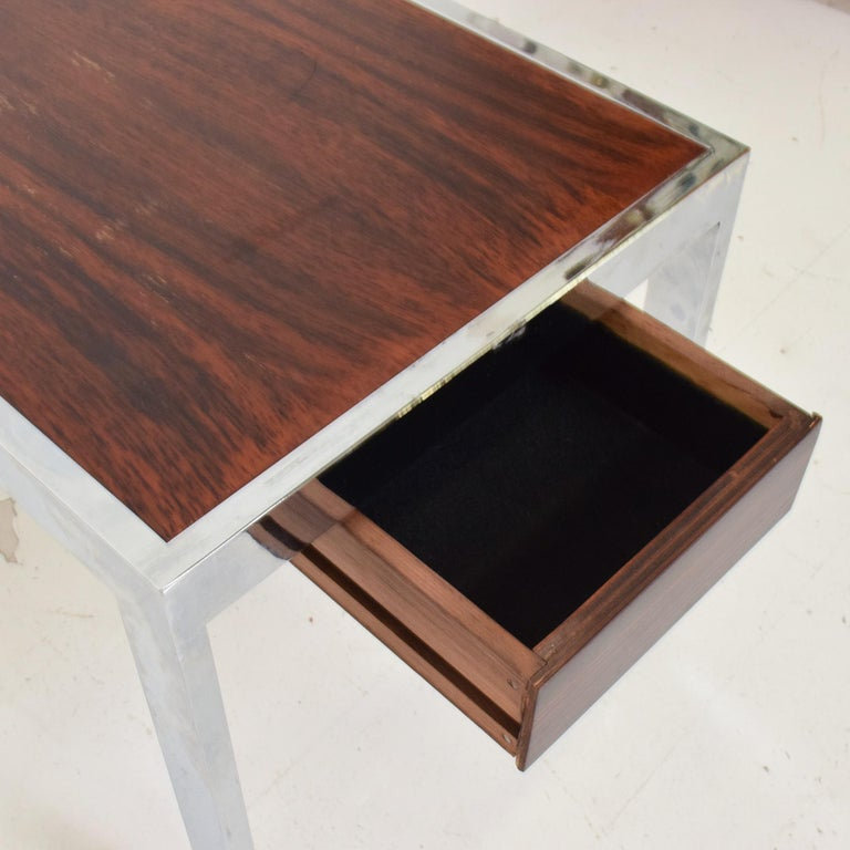 Mid-20th Century Sleek Rosewood & Chrome Rectangular Side Table on Rolling Casters 1960s Modern For Sale