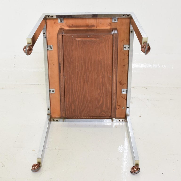 Sleek Rosewood & Chrome Rectangular Side Table on Rolling Casters 1960s Modern For Sale 1