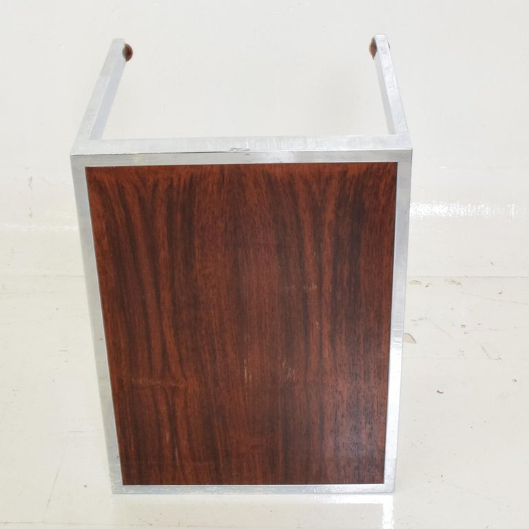 Sleek Rosewood & Chrome Rectangular Side Table on Rolling Casters 1960s Modern For Sale 2