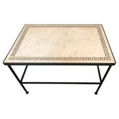 Sleek & Refined Greek Key Decorated Marble Top Coffee Table