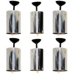 Sleek Robert Sonneman Set of Five Mod Industrial Aluminum Hanging Lamps 1950s