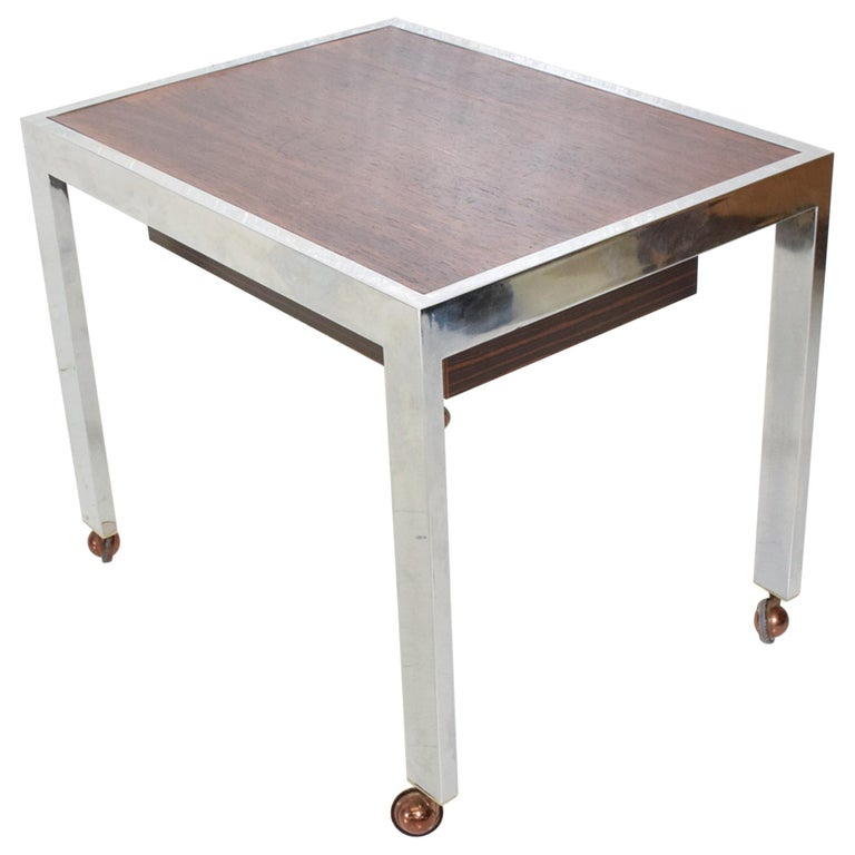 Sleek Rosewood & Chrome Rectangular Side Table on Rolling Casters 1960s Modern For Sale