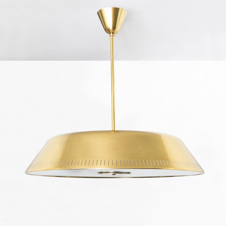 European Scandinavian Brass Pendant by Harald Notini for Böhlmarks, Sweden with 9 sockets For Sale