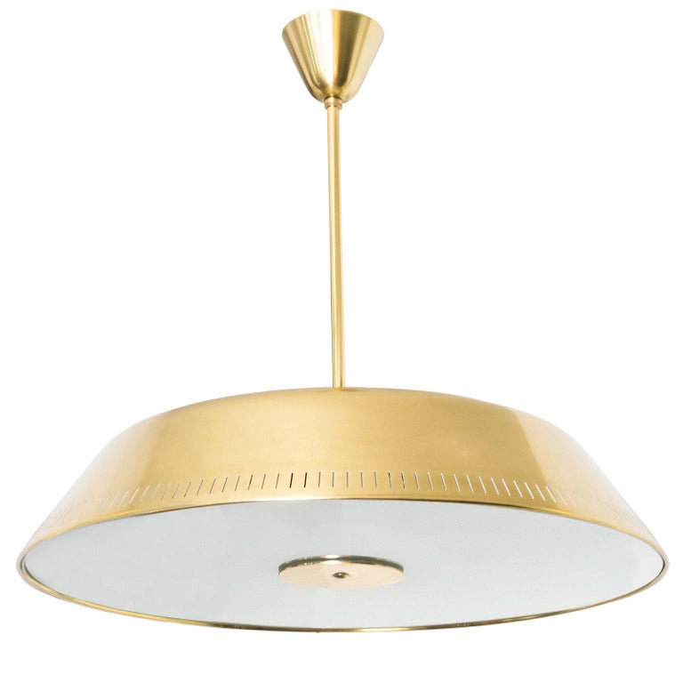 Scandinavian Brass Pendant by Harald Notini for Böhlmarks, Sweden with 9 sockets For Sale