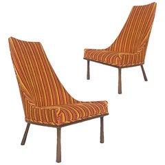 Sleek Sculptural High Back Chairs 1960s Mid-Century Modern Velvet and Walnut