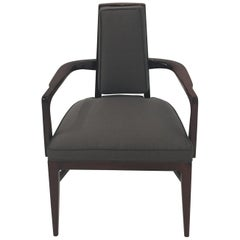 Sleek Sophisticated French Deco Mahogany and Raw Silk Armchair