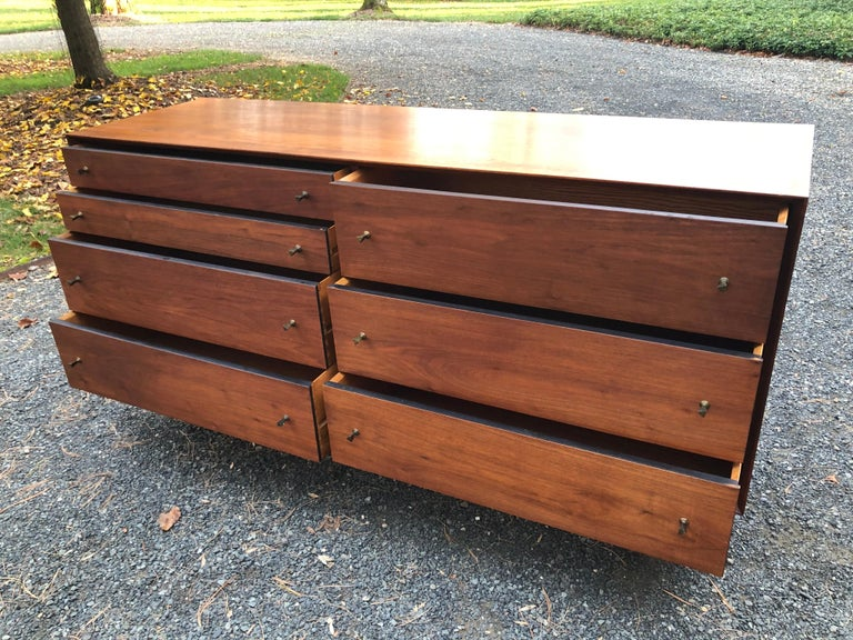 American Sleek Walnut Mid-Century Modern Chest of Drawers Credenza For Sale