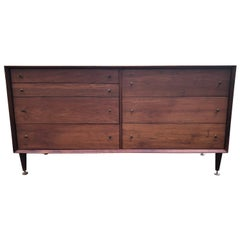Sleek Walnut Mid-Century Modern Chest of Drawers Credenza