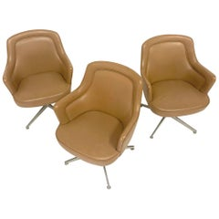 Sleek Ward Bennett for Lehigh Naugahyde Barrell Back Desk Chairs