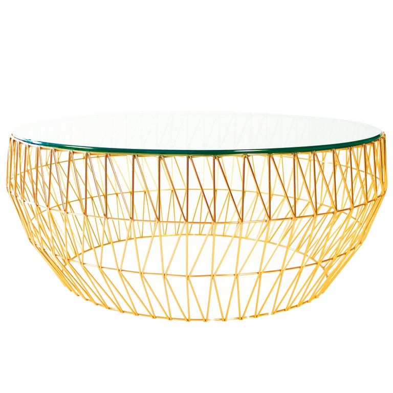 Modern Wire Round Coffee Table by Bend Goods For Sale