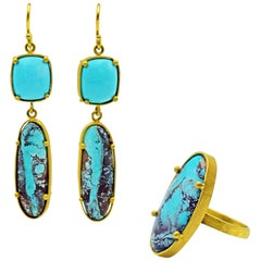 Sleeping Beauty and Bisbee Turquoise 22 Karat Gold Ring and Dangle Earrings Set