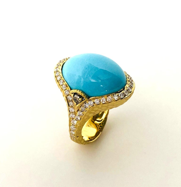 Artisan Sleeping Beauty Robin's Egg Blue Turquoise & Diamond, Yellow Gold Dome Ring For Sale
