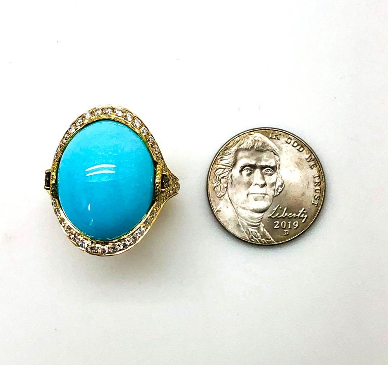 Oval Cut Sleeping Beauty Robin's Egg Blue Turquoise & Diamond, Yellow Gold Dome Ring For Sale
