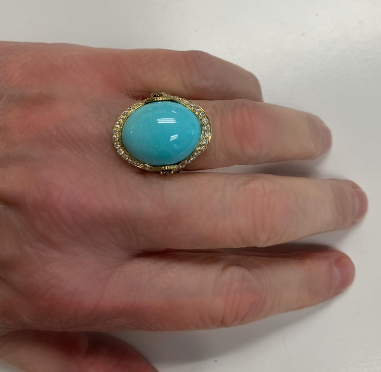 Women's or Men's Sleeping Beauty Robin's Egg Blue Turquoise & Diamond, Yellow Gold Dome Ring For Sale