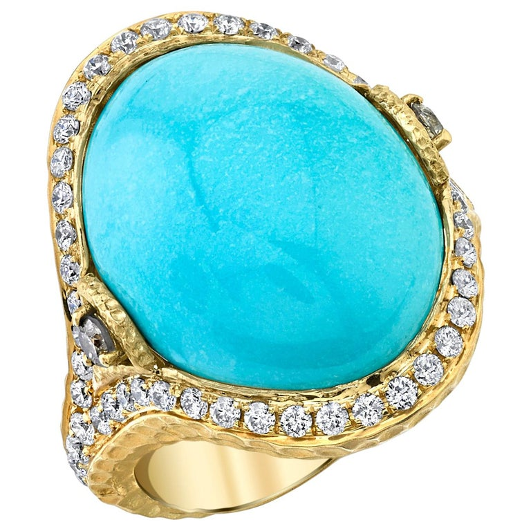 Sleeping Beauty Robin's Egg Blue Turquoise & Diamond, Yellow Gold Dome Ring For Sale