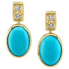 Sleeping Beauty Mine Turquoise Cabochon Bezel Set 18k Gold Drop Post Earrings