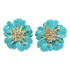 Sleeping Beauty Mine Turquoise Flower Earrings with 18 Karat Gold and Diamonds