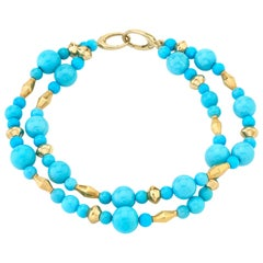 "Sleeping Beauty ""Robin's Egg"" Blue Turquoise Bead, Yellow Gold Bracelet"