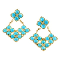 Sleeping Beauty Turquoise 18 Karat Gold and Diamond Drop Earrings Stambolian
