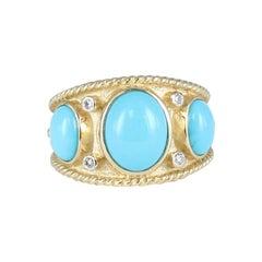 Sleeping Beauty Turquoise and Diamond Ring in 14 Karat Yellow Gold