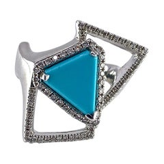 """Sleeping Beauty Turquoise and Diamond """"Welbeck"""" Ring in 18 Karat White Gold"""