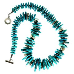 Gemjunky Sleeping Beauty Turquoise and Sterling Silver Necklace