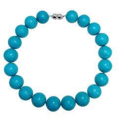 Sleeping Beauty Turquoise Bead Necklace, Sapphire, Diamond, 14 Karat White Gold