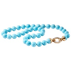 Sleeping Beauty Turquoise Beaded Gold and Diamond Necklace