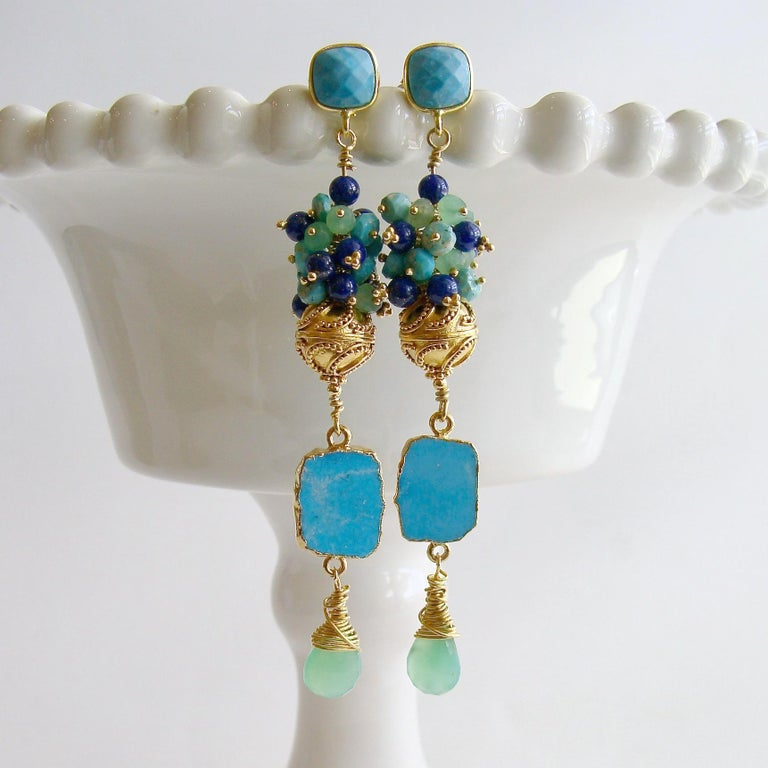 Morgaine II Duster Earrings.  A generous cluster of turquoise, spring green and royal blue rondelles consisting of Sleeping Beauty Turquoise, chrysoprase and lapis lazuli - crowns a swirled gold vermeil bead, while coveted Sleeping Beauty Turquoise