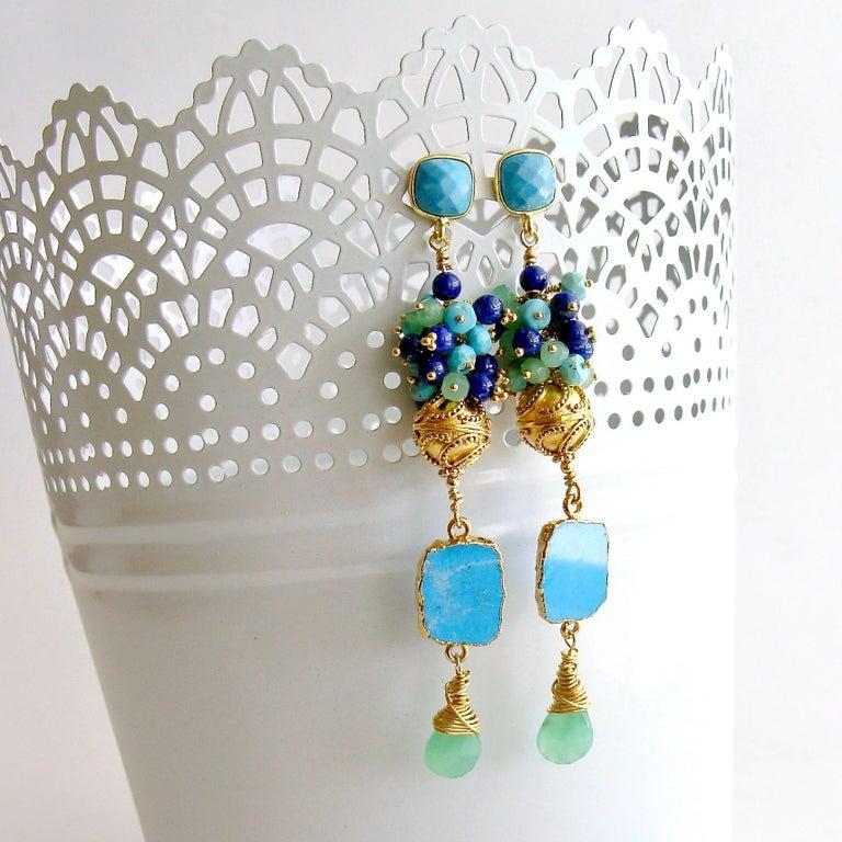 Artisan Sleeping Beauty Turquoise Chrysoprase Lapis Cluster Earrings For Sale