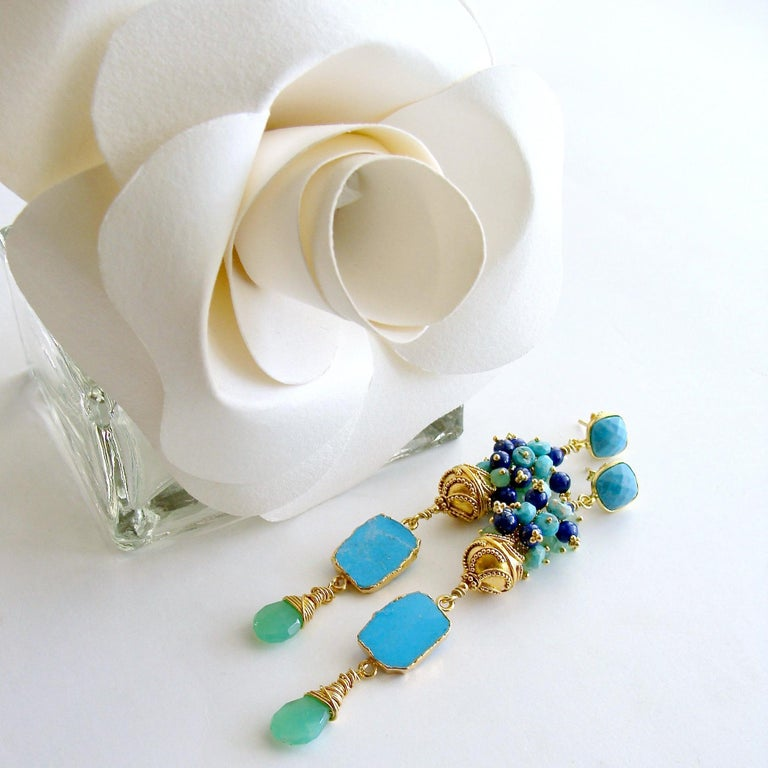 Sleeping Beauty Turquoise Chrysoprase Lapis Cluster Earrings In New Condition For Sale In Scottsdale, AZ