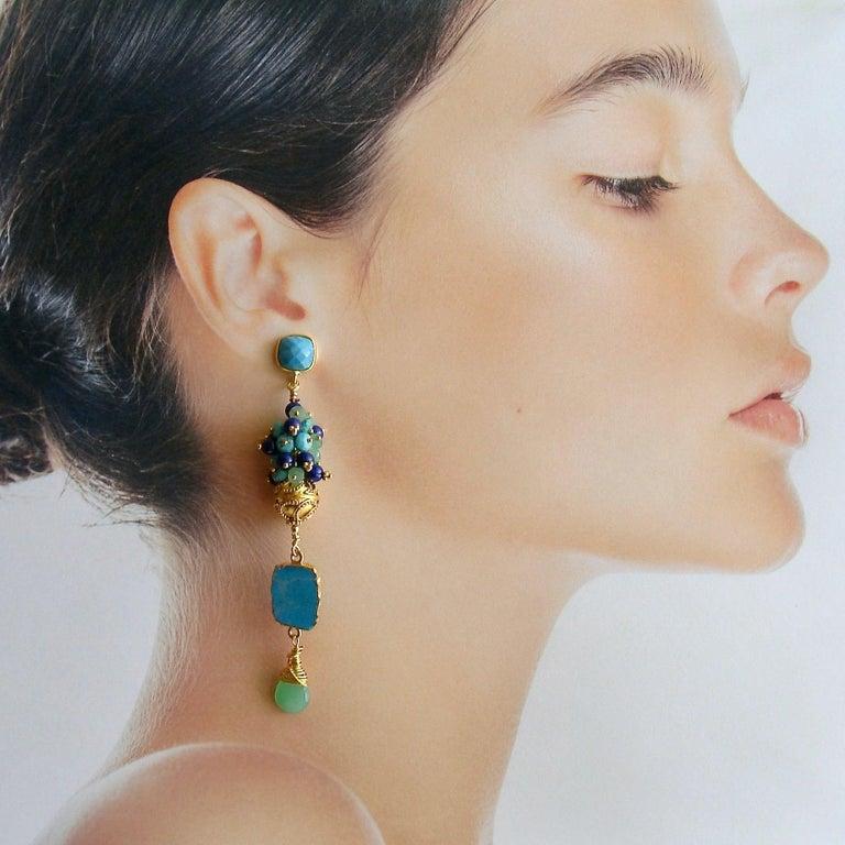 Women's Sleeping Beauty Turquoise Chrysoprase Lapis Cluster Earrings For Sale
