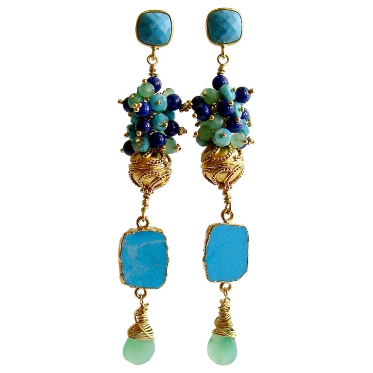 Sleeping Beauty Turquoise Chrysoprase Lapis Cluster Earrings For Sale