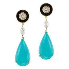 Sleeping Beauty Turquoise, Diamond and Black Enamel Earrings